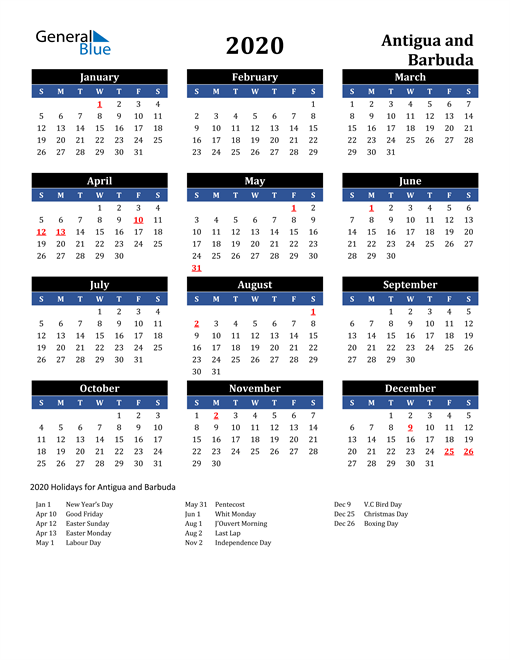 Image of Antigua and Barbuda 2020 Calendar in Blue and Black with Holidays
