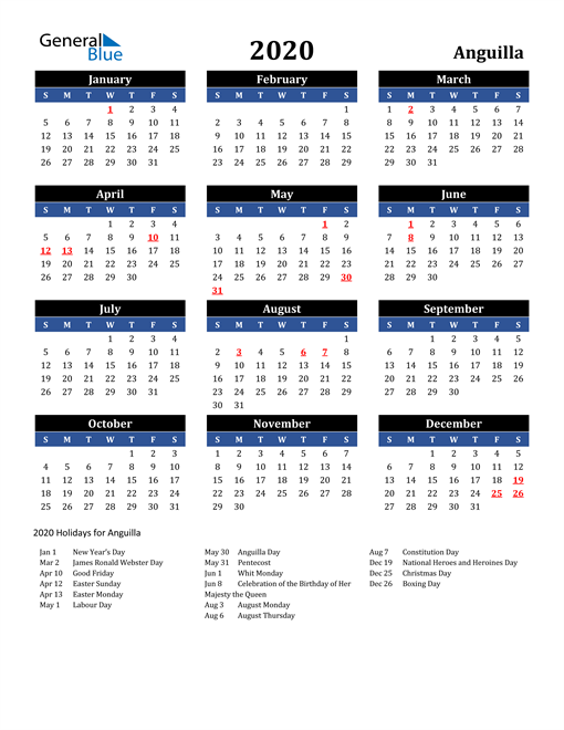 Image of Anguilla 2020 Calendar in Blue and Black with Holidays