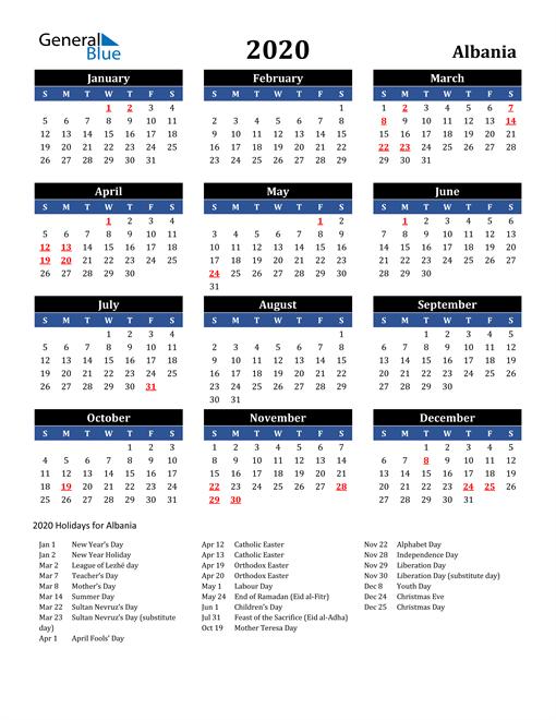 2020 Albania Free Calendar