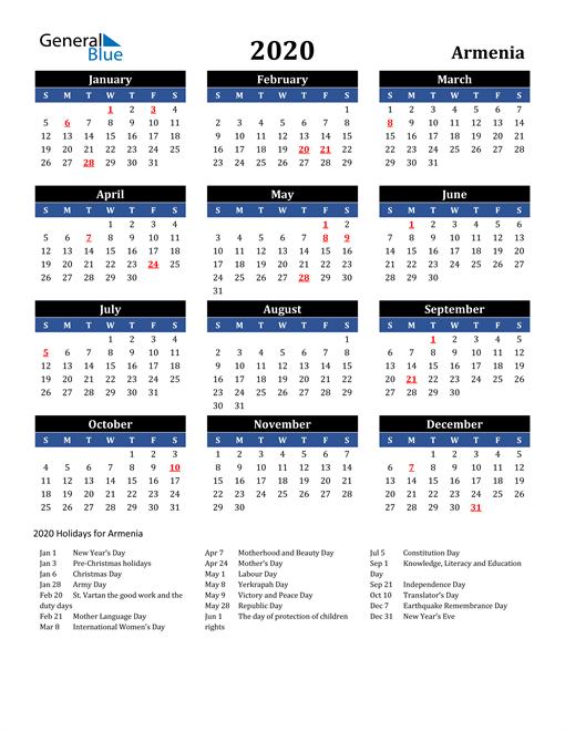 2020 Armenia Free Calendar