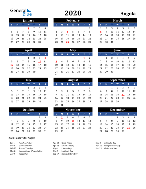 Image of Angola 2020 Calendar in Blue and Black with Holidays