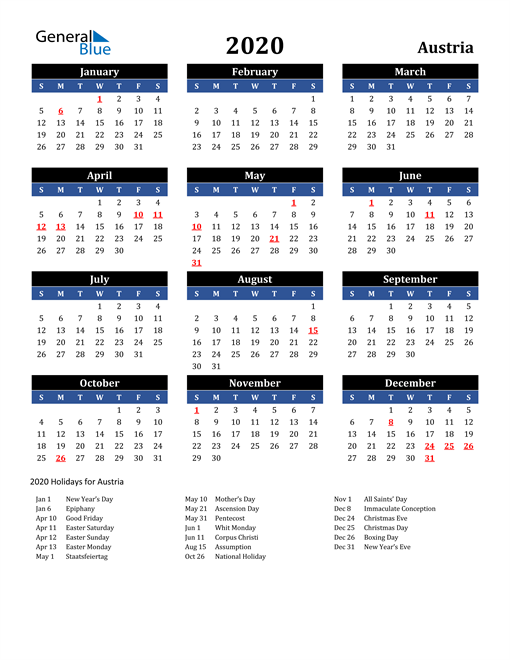 Image of Austria 2020 Calendar in Blue and Black with Holidays