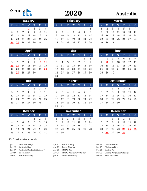 2020 Australia Free Calendar