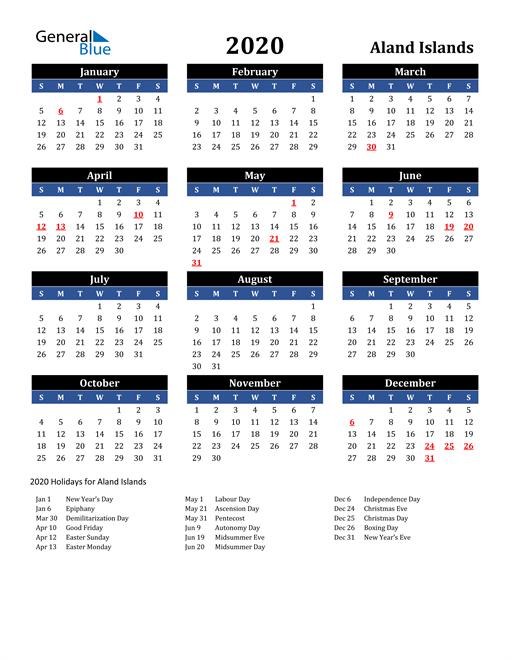 2020 Aland Islands Free Calendar