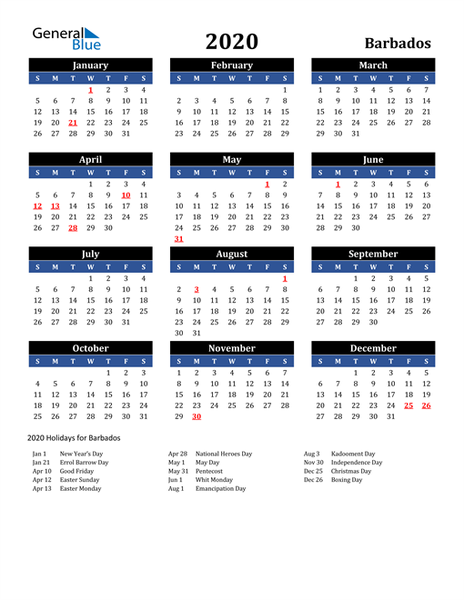 Image of Barbados 2020 Calendar in Blue and Black with Holidays