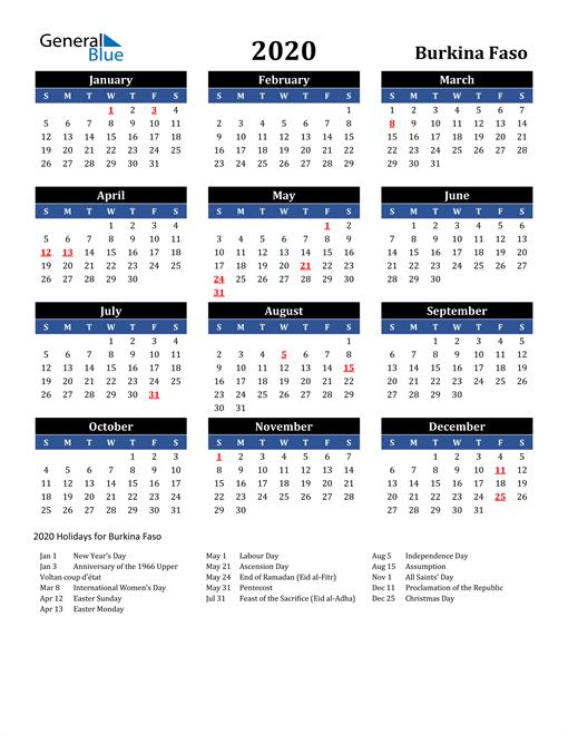 2020 Burkina Faso Free Calendar