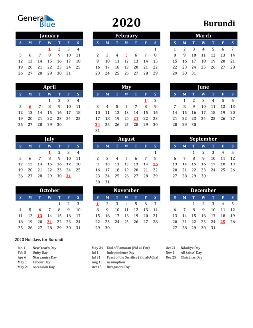 Image of Burundi 2020 Calendar in Blue and Black with Holidays