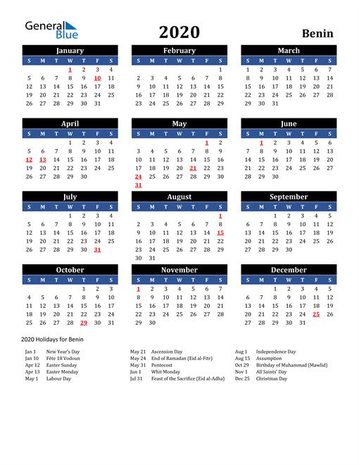 2020 Benin Free Calendar