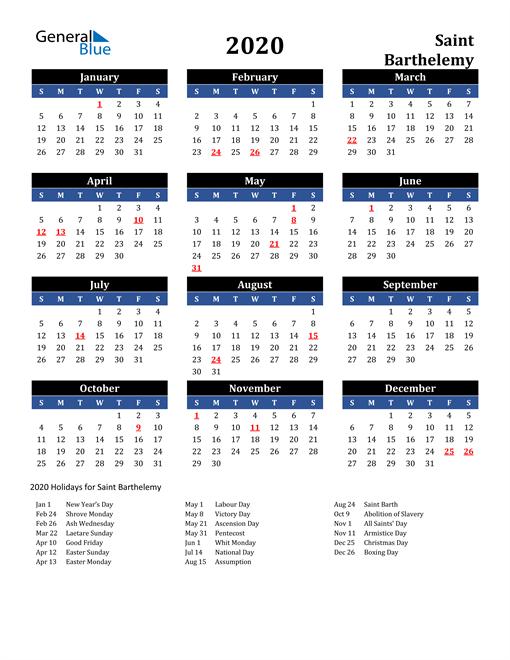 2020 Saint Barthelemy Free Calendar