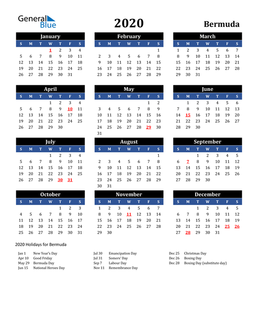 Image of Bermuda 2020 Calendar in Blue and Black with Holidays
