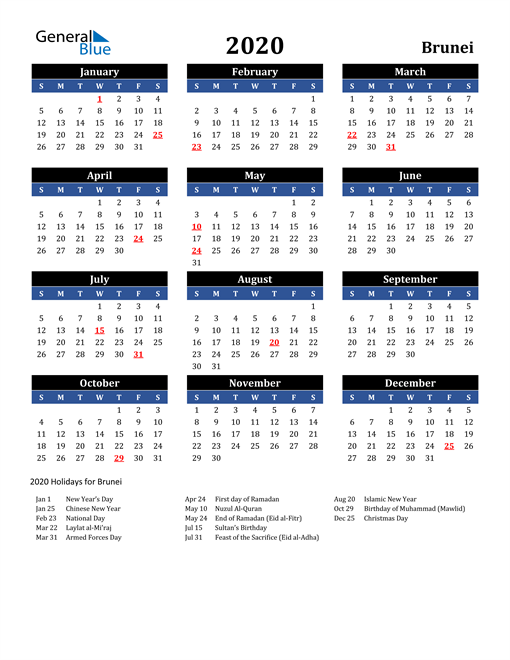 Image of Brunei 2020 Calendar in Blue and Black with Holidays