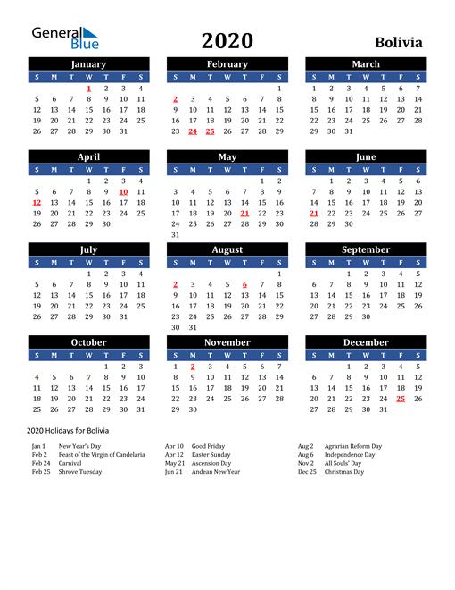 2020 Bolivia Free Calendar