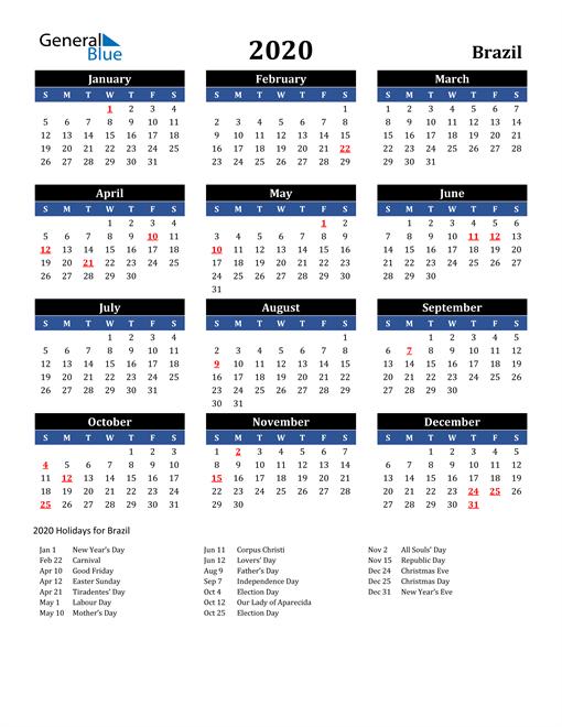 2020 Brazil Free Calendar