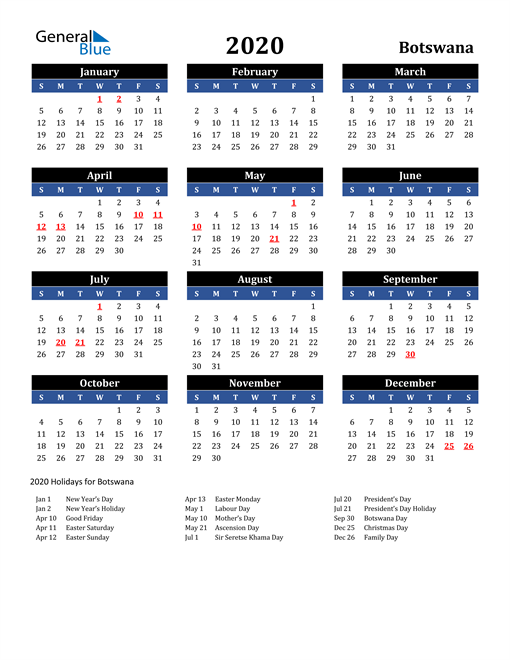 Image of Botswana 2020 Calendar in Blue and Black with Holidays
