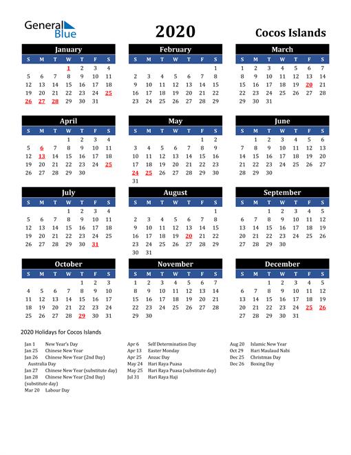 2020 Cocos Islands Free Calendar