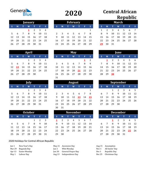 2020 Central African Republic Free Calendar