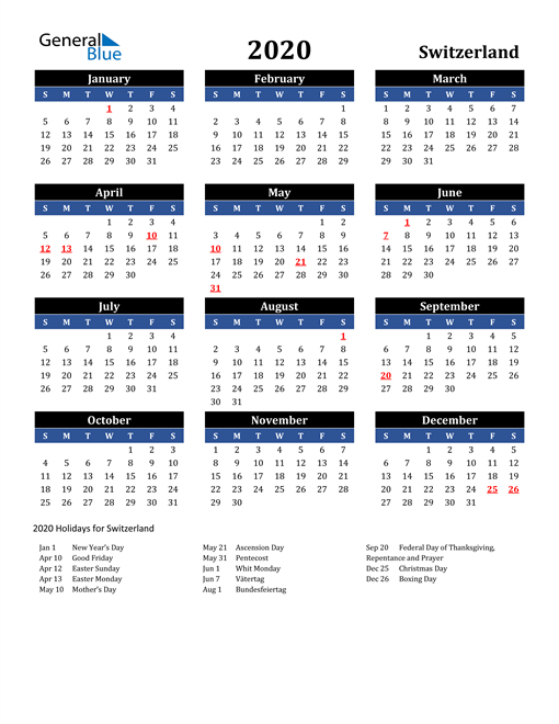 Image of Switzerland 2020 Calendar in Blue and Black with Holidays