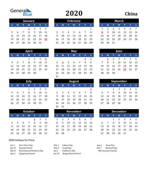 Image of China 2020 Calendar in Blue and Black with Holidays