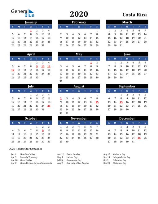 2020 Costa Rica Free Calendar