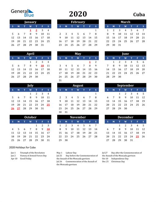 2020 Cuba Free Calendar