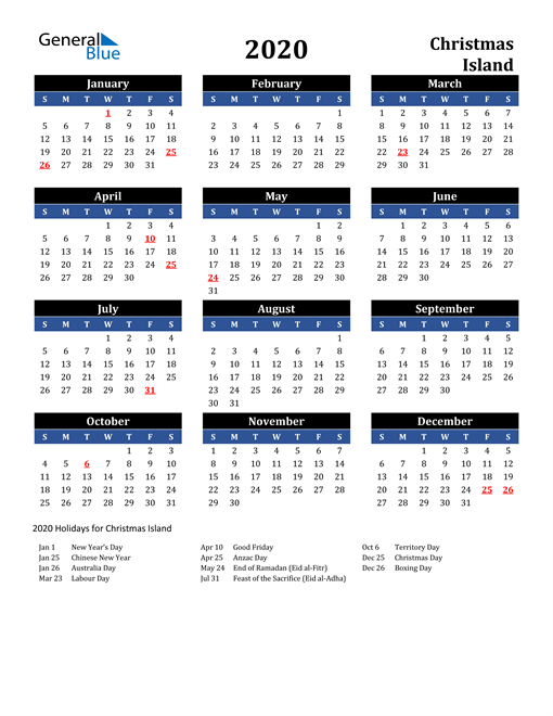 Image of Christmas Island 2020 Calendar in Blue and Black with Holidays