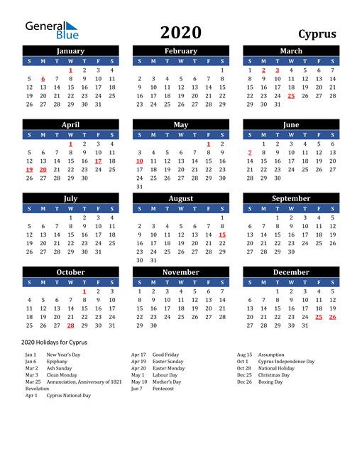 Image of Cyprus 2020 Calendar in Blue and Black with Holidays