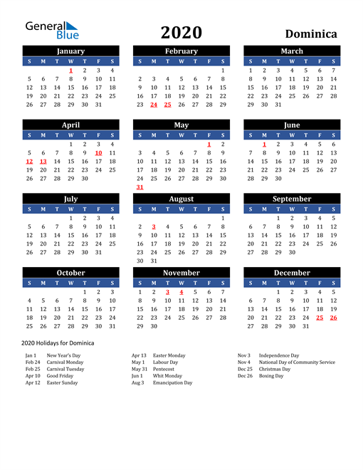 Image of Dominica 2020 Calendar in Blue and Black with Holidays