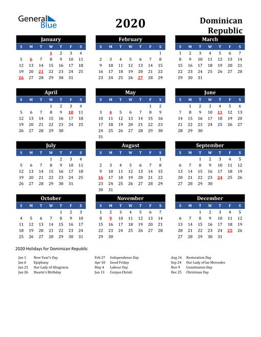 2020 Dominican Republic Free Calendar