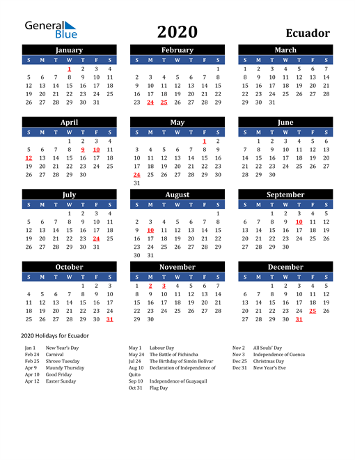 Image of Ecuador 2020 Calendar in Blue and Black with Holidays