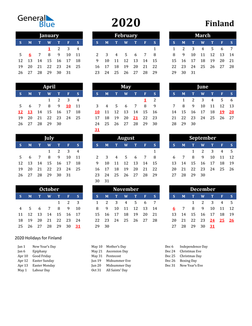 Image of Finland 2020 Calendar in Blue and Black with Holidays