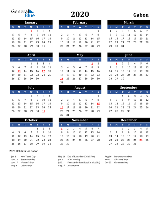 Image of Gabon 2020 Calendar in Blue and Black with Holidays