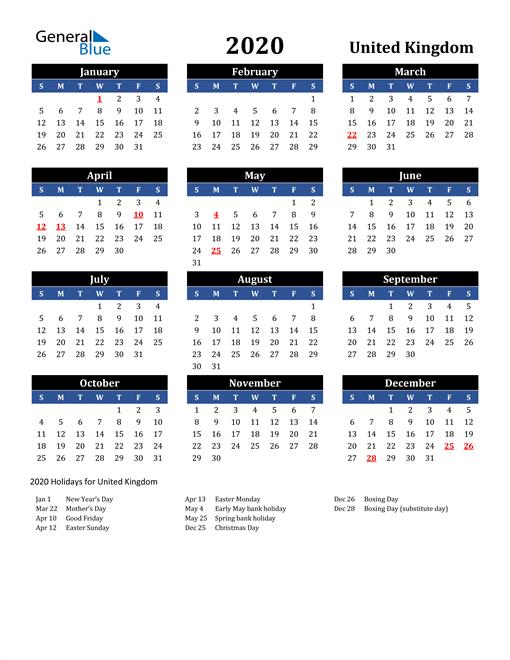 2020 United Kingdom Free Calendar