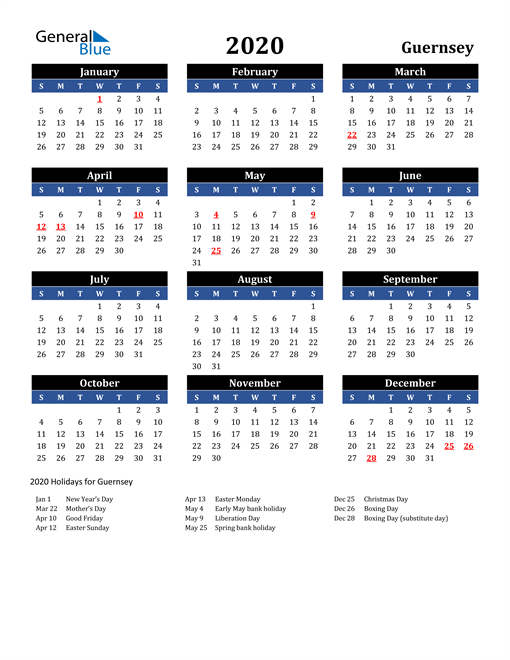 Image of Guernsey 2020 Calendar in Blue and Black with Holidays