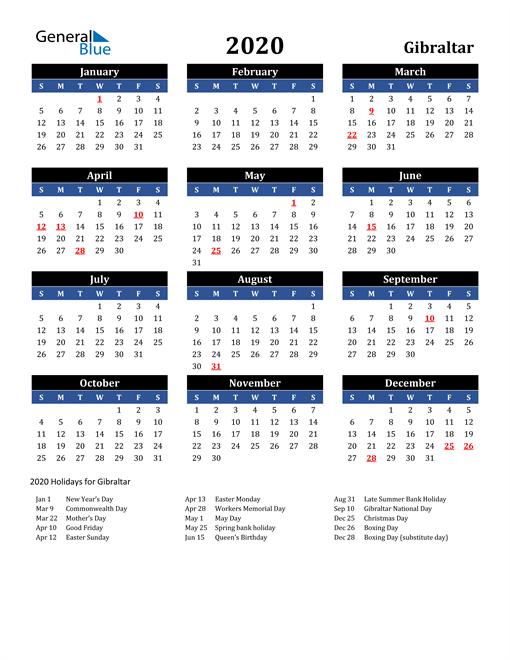 2020 Gibraltar Free Calendar