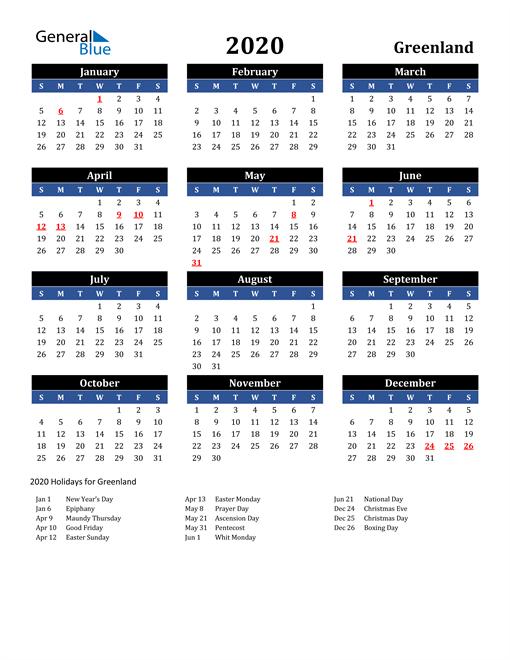 2020 Greenland Free Calendar