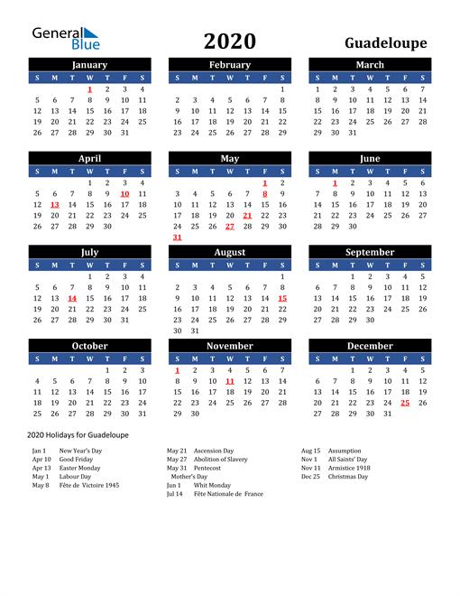 2020 Guadeloupe Free Calendar