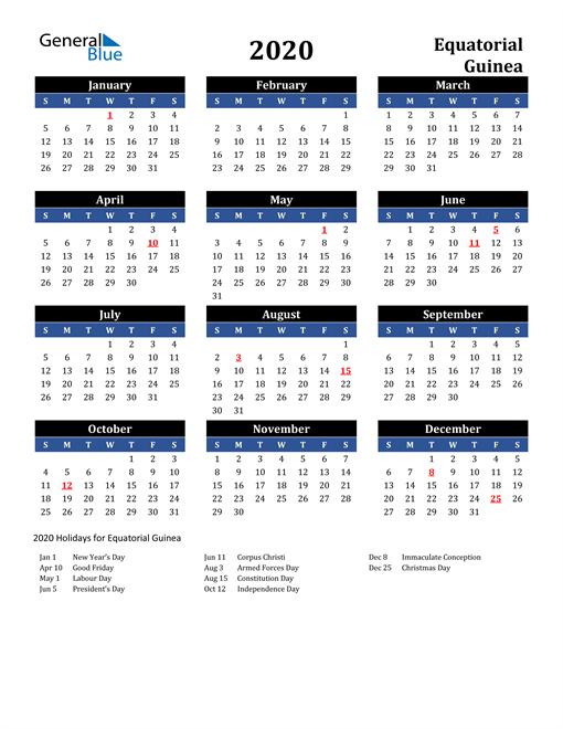2020 Equatorial Guinea Free Calendar
