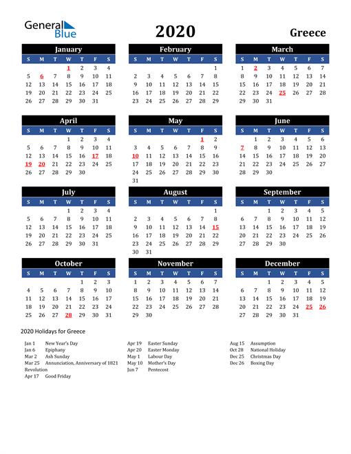 2020 Greece Free Calendar