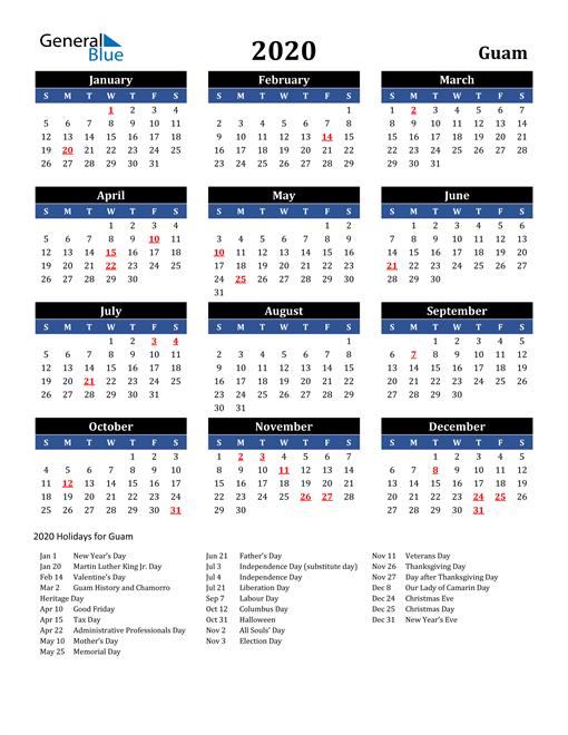 2020 Guam Free Calendar