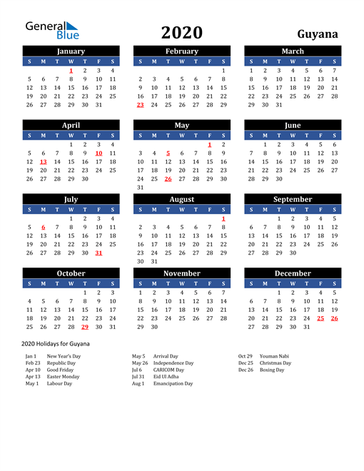 Image of Guyana 2020 Calendar in Blue and Black with Holidays