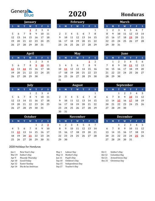 2020 Honduras Free Calendar