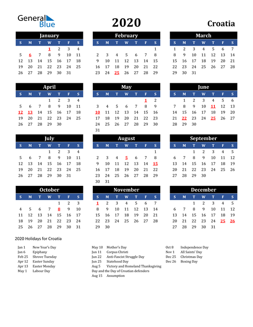 Image of Croatia 2020 Calendar in Blue and Black with Holidays