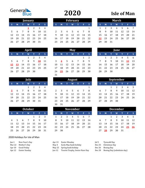 2020 Isle of Man Free Calendar