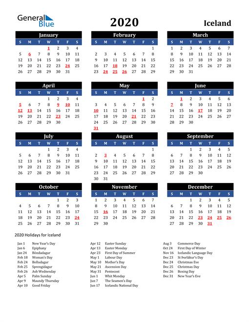 2020 Iceland Free Calendar