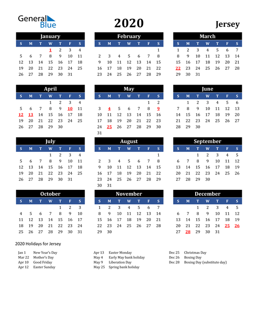 Image of Jersey 2020 Calendar in Blue and Black with Holidays