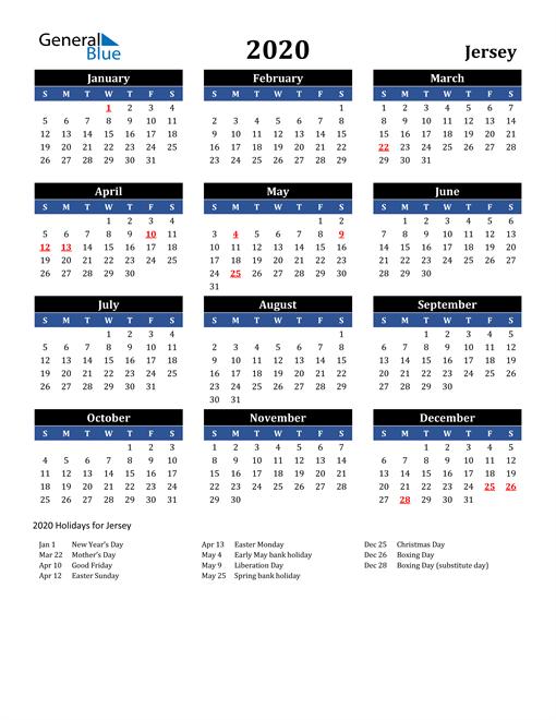 2020 Jersey Free Calendar