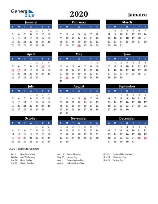 Image of Jamaica 2020 Calendar in Blue and Black with Holidays