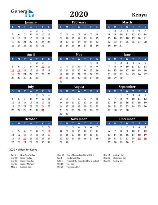2020 Kenya Free Calendar