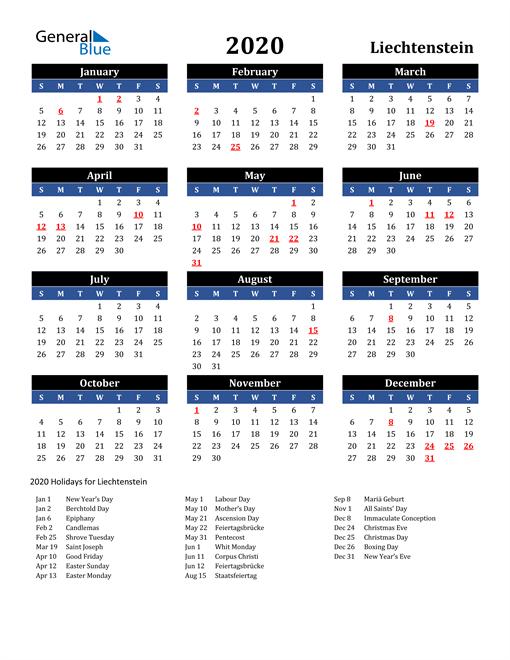 2020 Liechtenstein Free Calendar