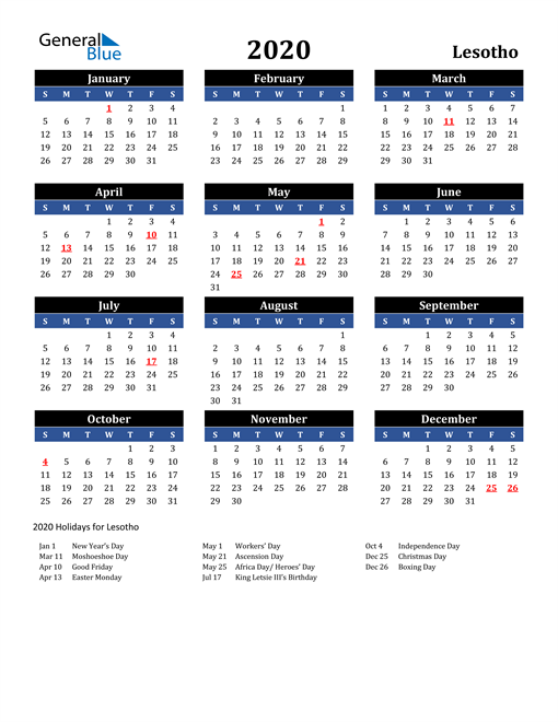Image of Lesotho 2020 Calendar in Blue and Black with Holidays